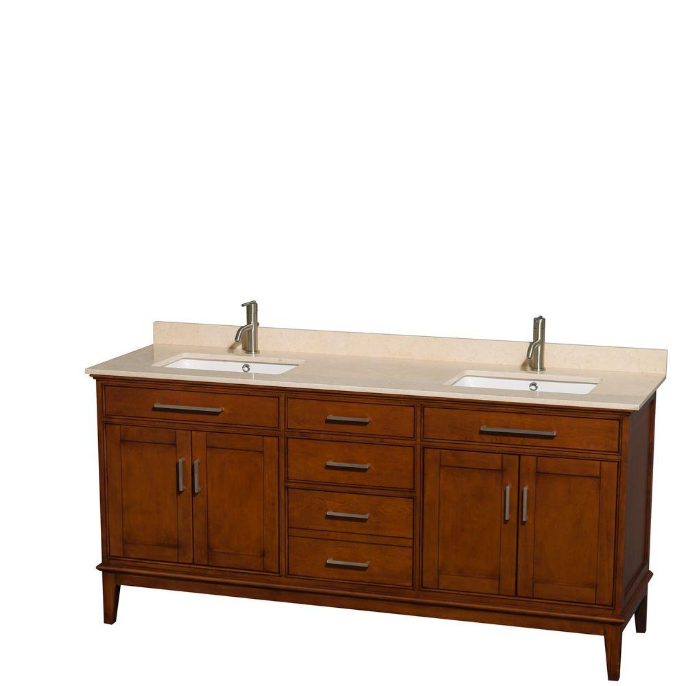 Wyndham Collection Hatton 72 in. Double Vanity in Light Chestnut with Marble Vanity Top in Ivory and Square Sinks
