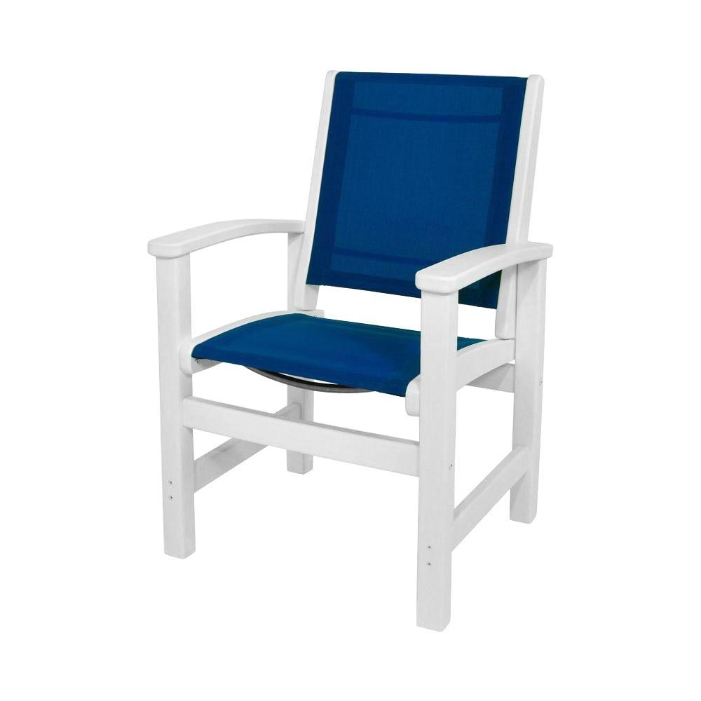 Awesome Polywood Coastal White All Weather Plastic Sling Outdoor Dining Chair In Royal Blue Download Free Architecture Designs Meptaeticmadebymaigaardcom