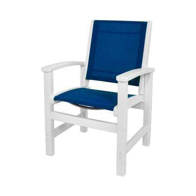 Coastal White All-Weather Plastic/Sling Outdoor Dining Chair in Royal Blue