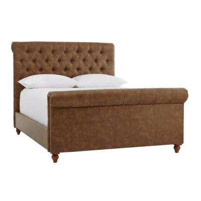 Fenmore Tobacco Tufted Upholstered Bonded Leather King Sleigh Bed (81.5 in W. X 56.3 in H.)