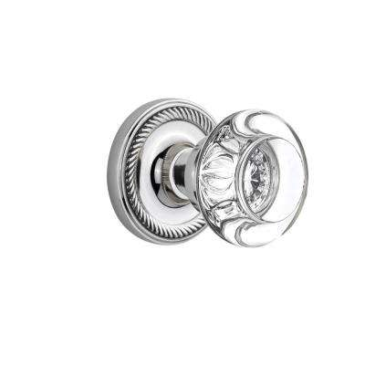 Rope Rosette 2-3/4 in. Backset Bright Chrome Privacy Bed/Bath Round Clear Crystal Glass Door Knob