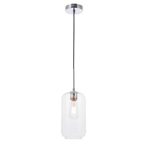 Timeless Home Conor 1-Light Chrome Pendant with Clear Glass Shade