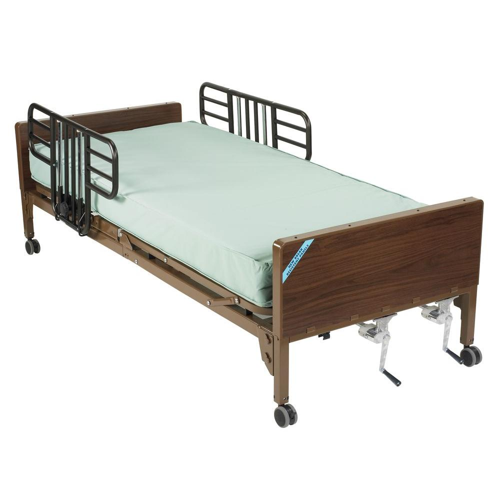 Drive Multi Height Manual Hospital Bed with Half Rails an...