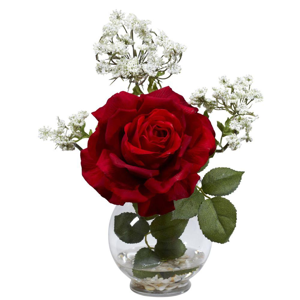 Nearly Natural 13 in. H Red Rose and Gypso with Fluted Vase Silk Flower Arrangement Nearly Natural 13 in. H Red Rose and Gypso with Fluted Vase Silk Flower Arrangement