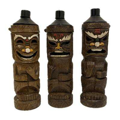 Friki-Tiki Torch Light Citronella Oil Canisters and Wick with 3 Asst. Styles Home and Garden Decor Statue (3-Pack)