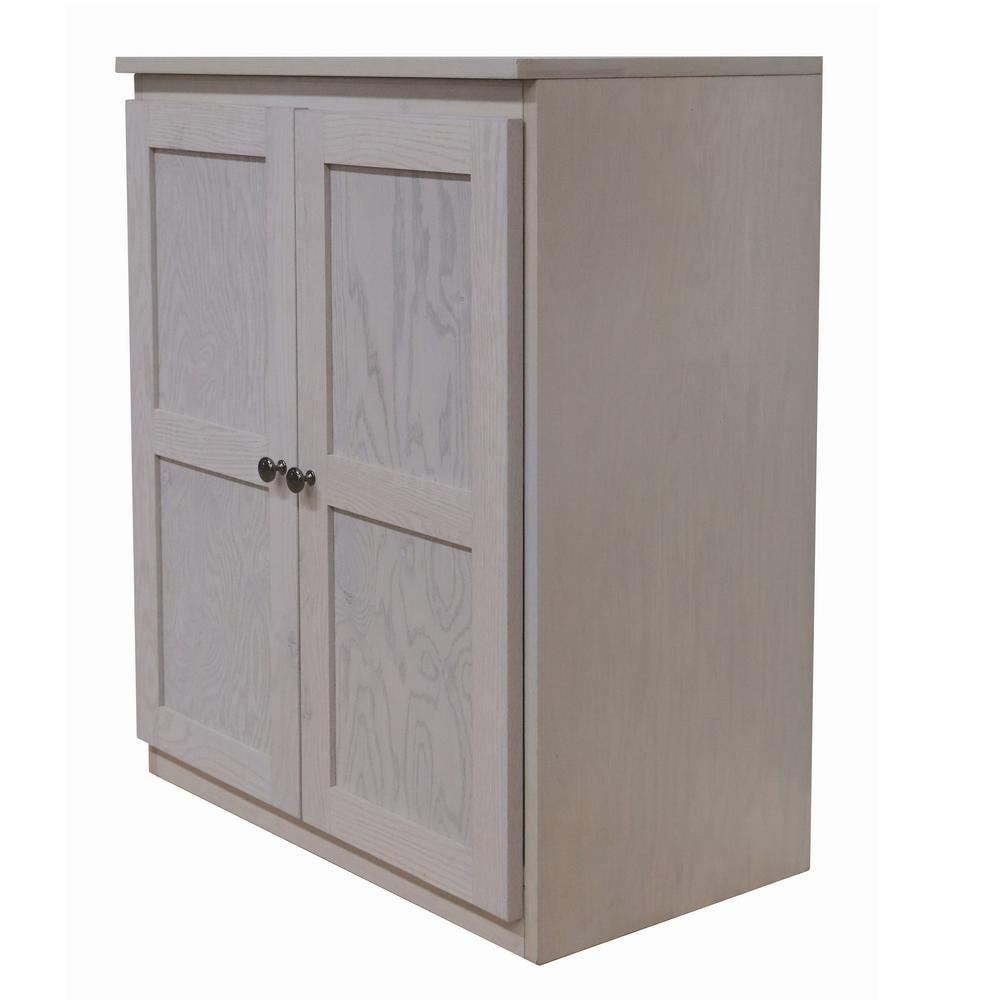 Concepts In Wood Wood Storage Cabinet 36 Inch With 2 Shelves Coastal White Finish Sc3036 Cw The Home Depot