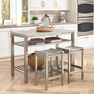 Brushed Satin Stainless Steel Kitchen Island with Bar Stools
