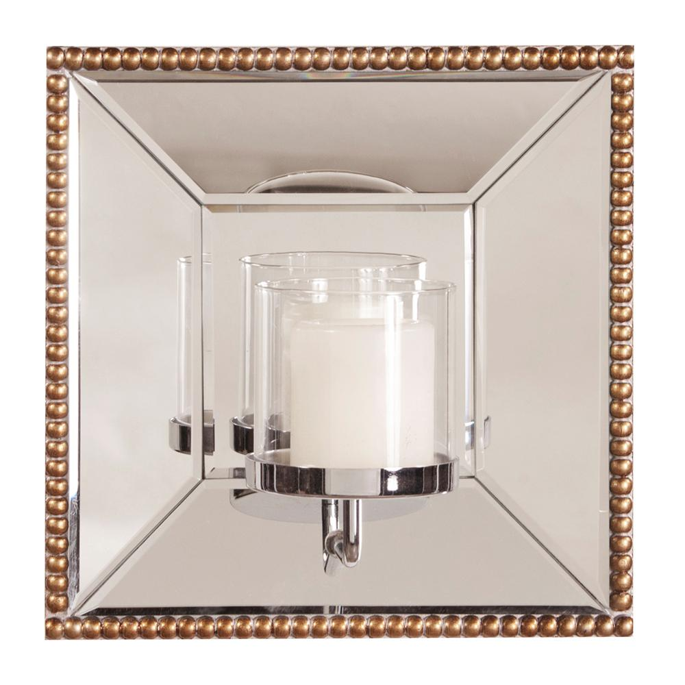 lydia square mirror with candle holder 99075 the home depot. Black Bedroom Furniture Sets. Home Design Ideas