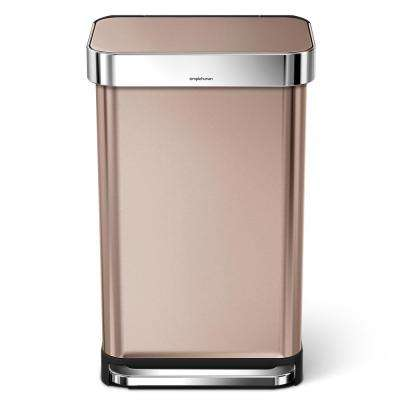 11.88 Gal. Rose Gold Stainless Steel Rectangular Liner Rim Step Can