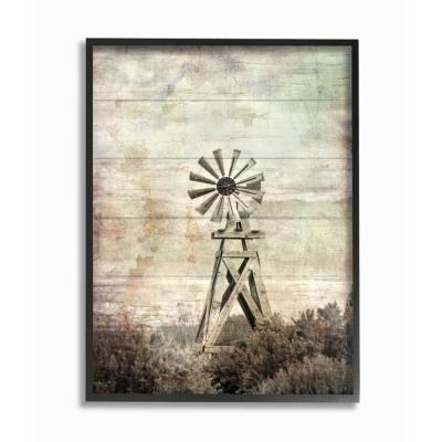 """11 in. x 14 in. """"Distressed Silent Windmill Photography with Planked Wood Look Black Framed Wall Art"""" by Ramona Murdock"""