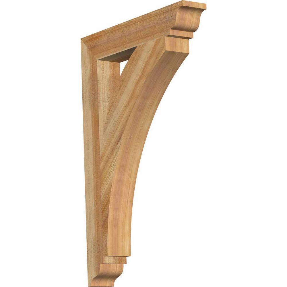4 in. x 36 in. x 24 in. Western Red Cedar Thorton Traditional Rough Sawn Bracket