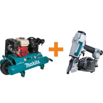10 Gal. 5.5 HP Portable Gas-Powered Twin Stack Air Compressor with Bonus 2-1/2 in. 15° Siding Coil Nailer
