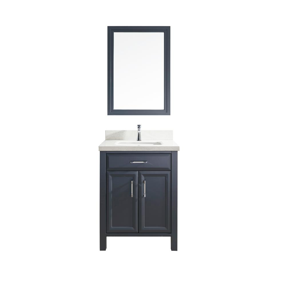 Studio Bathe Calais 28 in. W x 22 in. D Vanity in Pepper Gray with Solid Surface Vanity Top in White with White Basin and Mirror