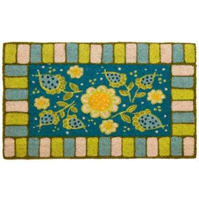 Blue Garden 17 in. x 28 in. Non-Slip Coir Door Mat