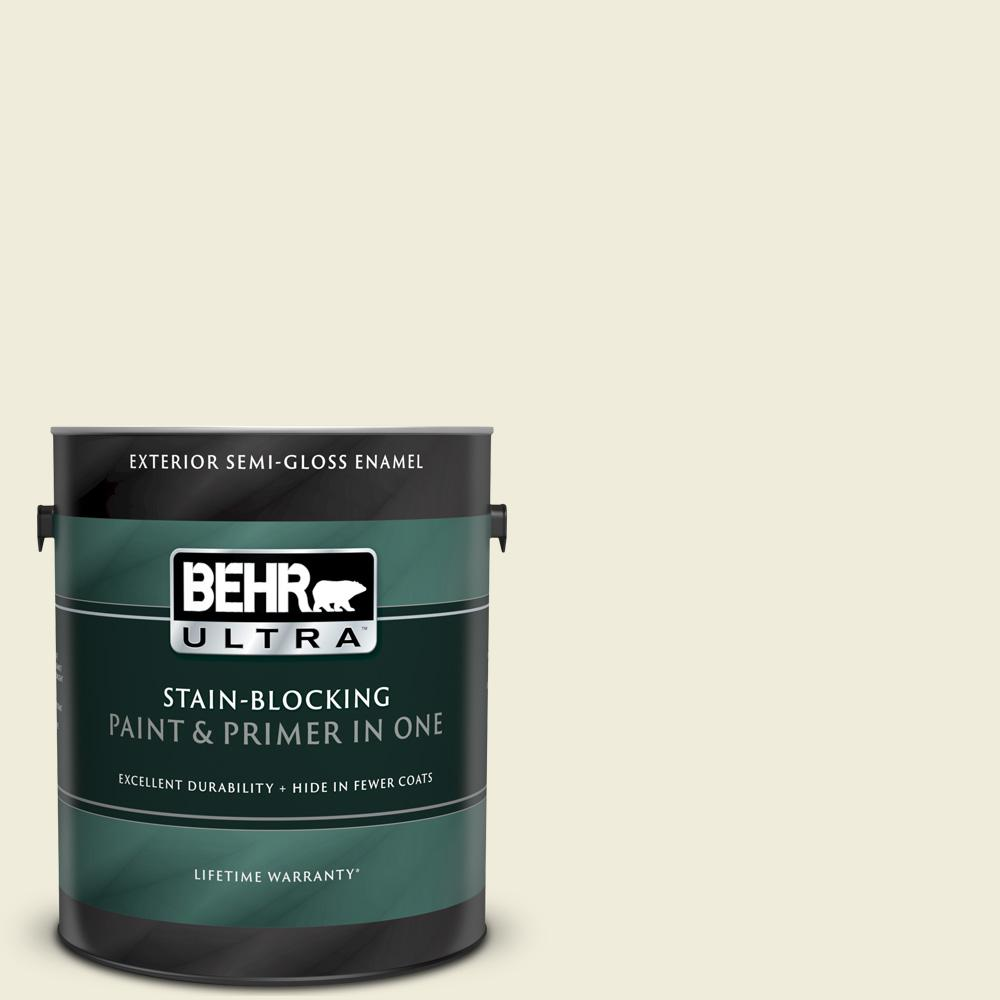 Behr Ultra 1 Gal Ppl 30 Soft Moonlight Semi Gloss Enamel Exterior Paint And Primer In One 585001 The Home Depot