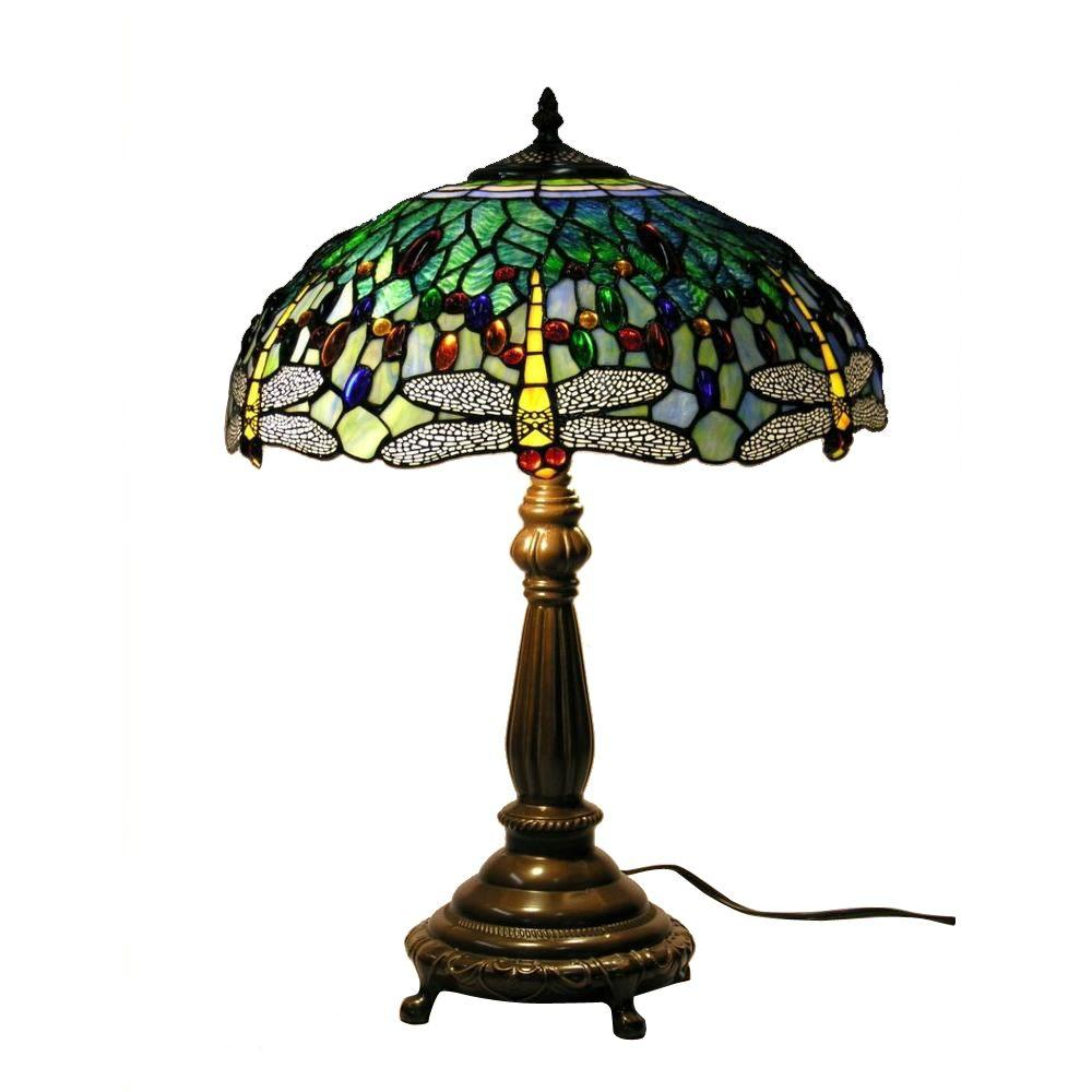 Elegant Antique Bronze Dragonfly Stained Glass Table Lamp With Pull Chain