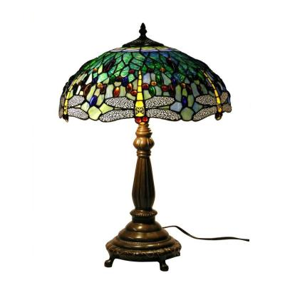 22 in. Antique Bronze Dragonfly Stained Glass Table Lamp with Pull Chain