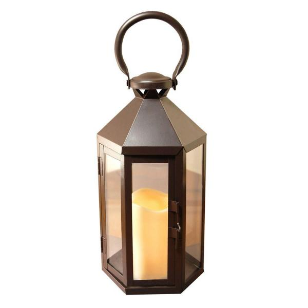 Lumabase 6 in. x 12 in. Hexagon Metal Lantern with LED Candle