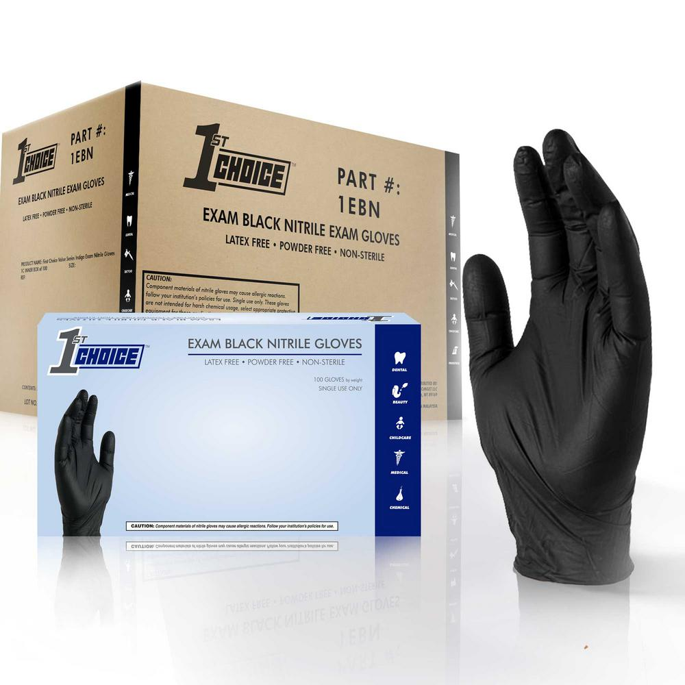 Large Black Nitrile Exam Powder-Free Disposable Gloves (10-Boxes of 100-Count)