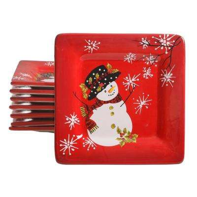 Snappy Snowman Red Dessert Plate (Set of 8)