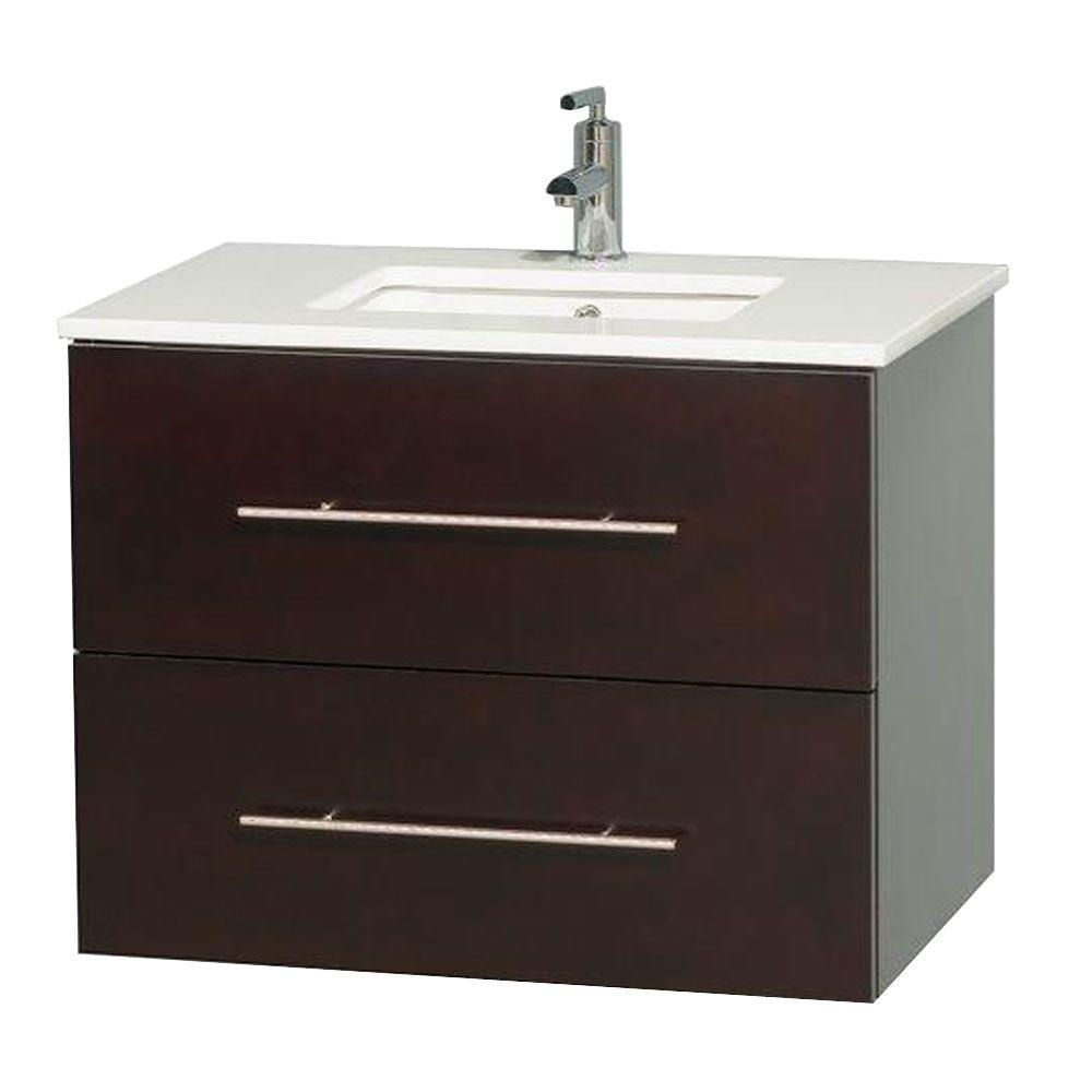 Wyndham Collection Centra 30 In Vanity In Espresso With Solid Surface Vanity Top In White And