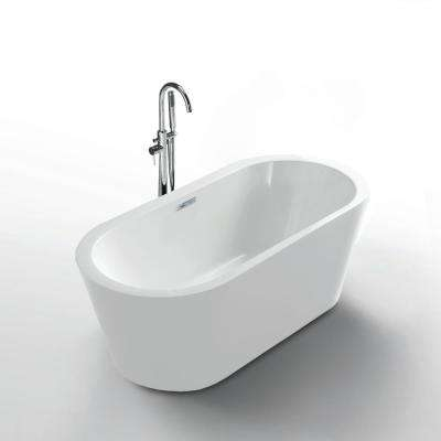 Serenity 62 in. Acrylic Flatbottom Seamless One-Piece Freestanding Bath Tub in White