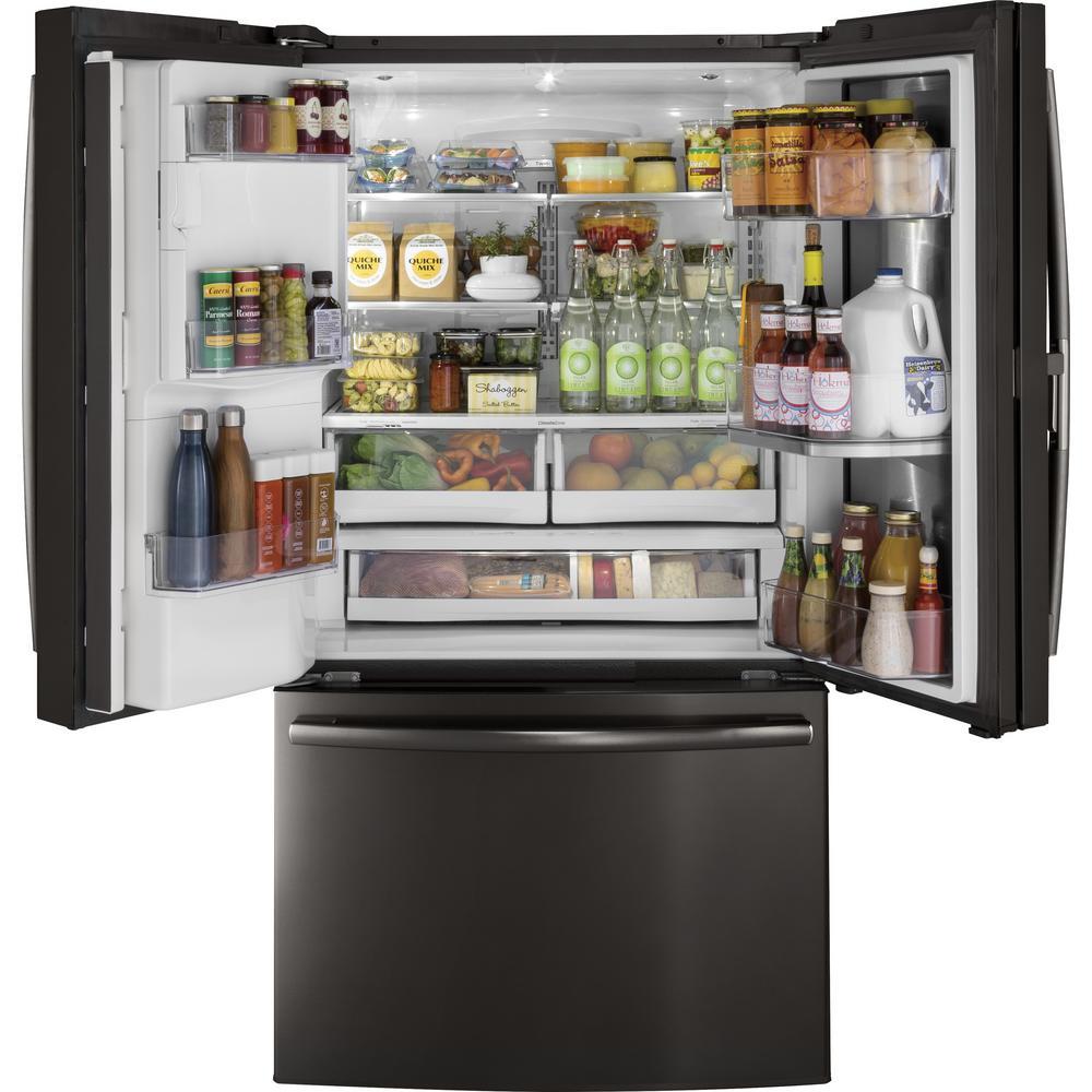 Profile 22.2 cu. ft. French Door Refrigerator with Door-in-Door in Black Stainless Steel, Counter Depth