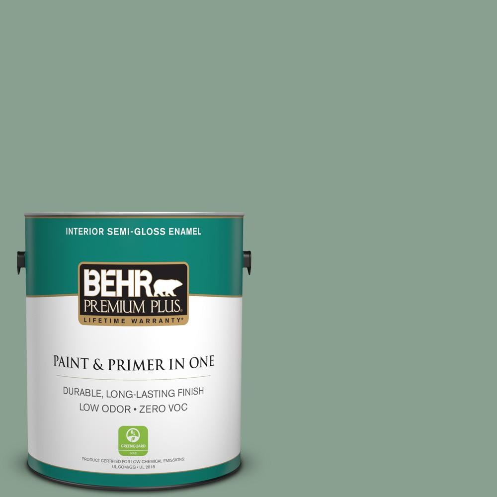 BEHR Premium Plus 1-gal. #ECC-52-3 Hillside View Zero VOC Semi-Gloss Enamel Interior Paint