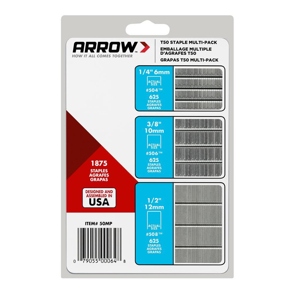 6mm ARROW T50 STAPLES PACKS OF 1250 STAPLES