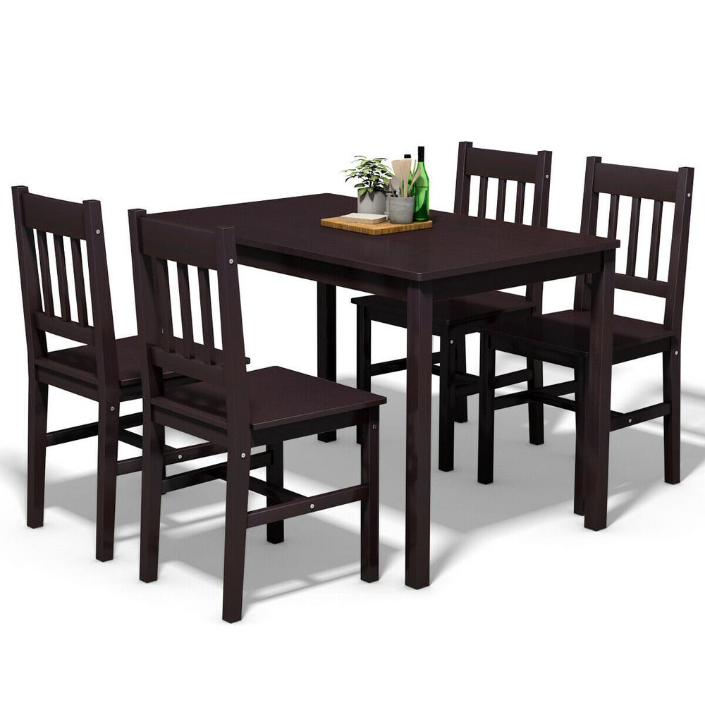 Wood Dining Table Set 4 Chairs