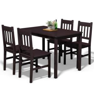 Costway 5-Piece Brown Wood Dining Table Set 4-Chairs Home ...