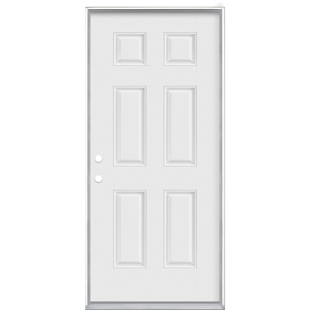 Masonite 36 in. x 80 in. 6-Panel Right-Hand Inswing Primed White Smooth Fiberglass Prehung Front Exterior Door