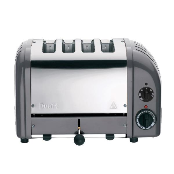 Dualit New Gen 4-Slice Cobble Gray Wide Slot Toaster with Crumb