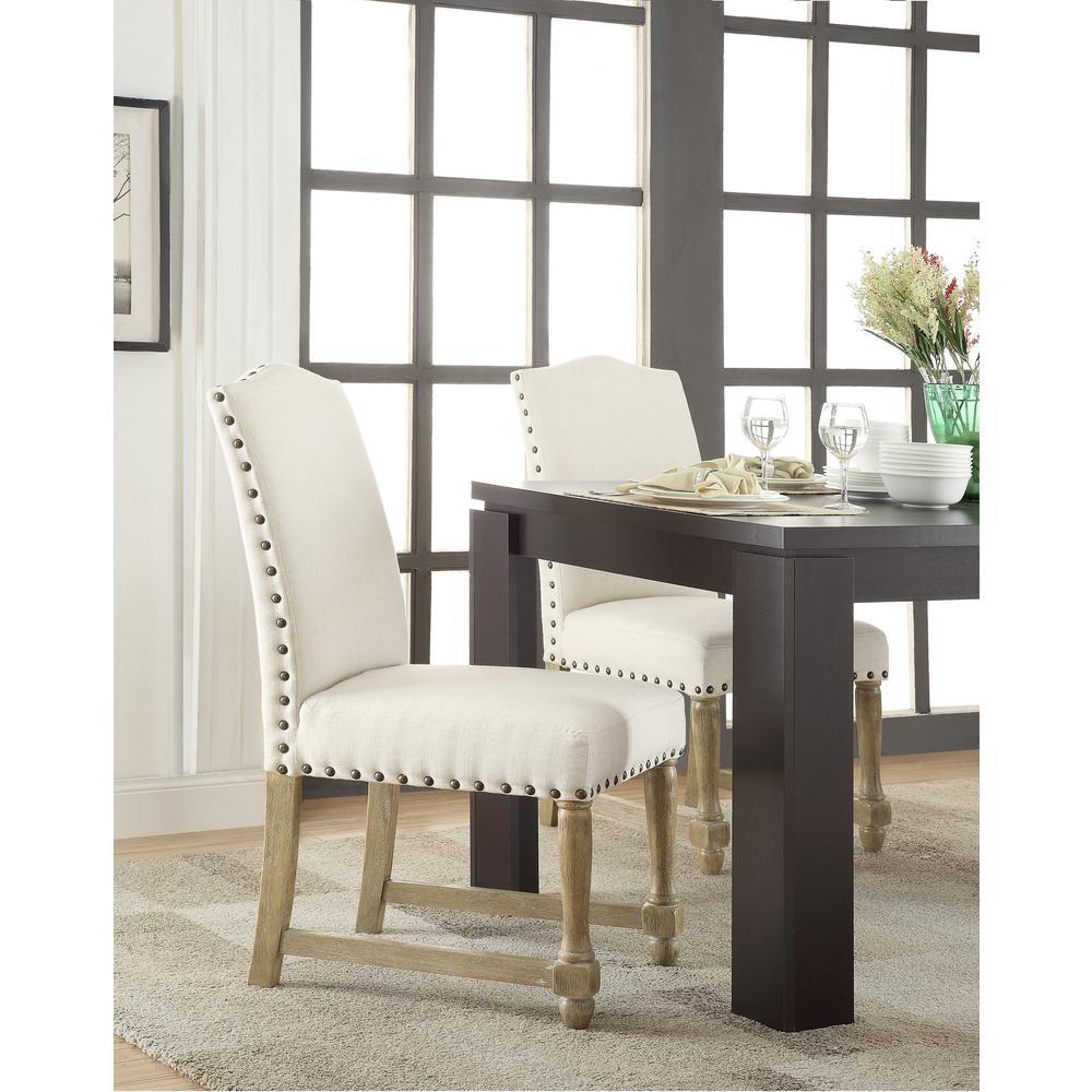 Ave Six Kingman Linen White Dining Chair