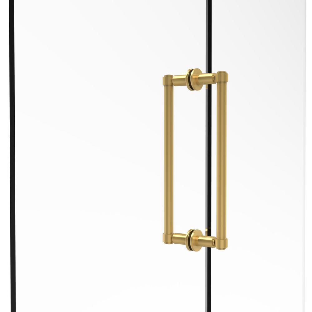 Contemporary 12 in. Back-to-Back Shower Door Pull in Unlacquered Brass
