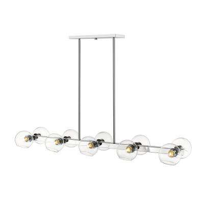 Marsala 10-Light Chrome Pendant with Clear Glass Shade