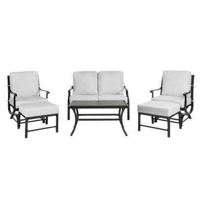 Redwood Valley 6-Piece Black Steel Outdoor Patio Deep Seating Set with Bare Cushions