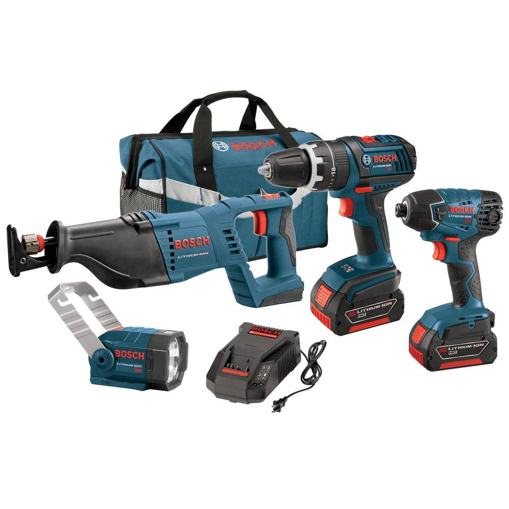 Bosch 18-Volt Lithium-Ion Cordless Power Tool Combo Kit (4-Tool)