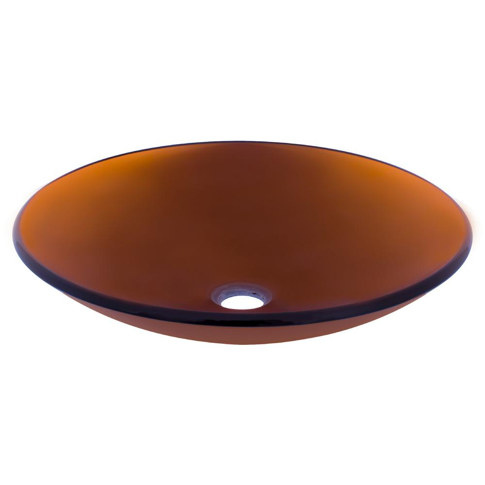 In Basso Glass Vessel Sink in Brown