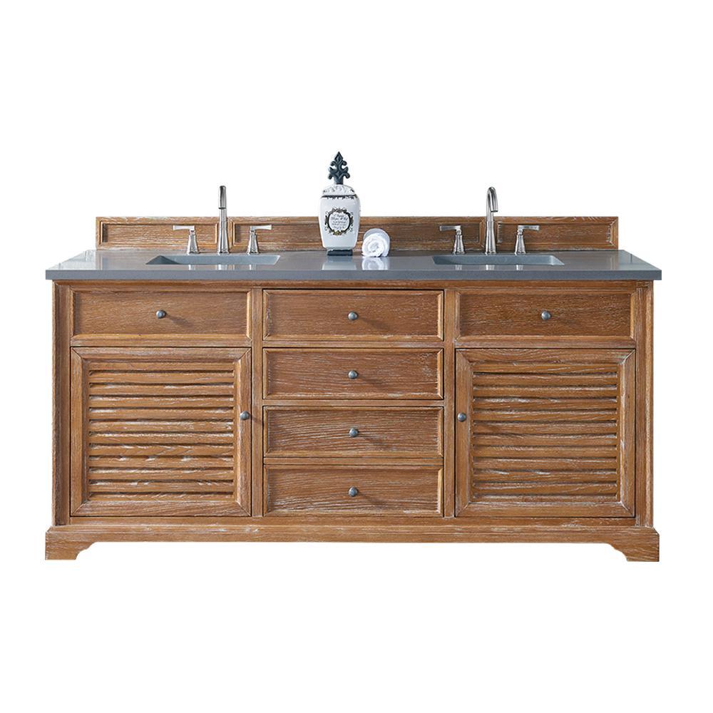 Double Vanity Driftwood Quartz Vanity Top Gray White Basin