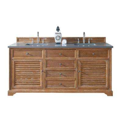 Savannah 72 in. W Double Vanity in Driftwood with Quartz Vanity Top in Gray with White Basin
