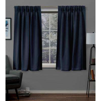 Sateen 30 in. W x 63 in. L Woven Blackout Pinch Pleat Top Curtain Panel in Peacoat Blue (2 Panels)