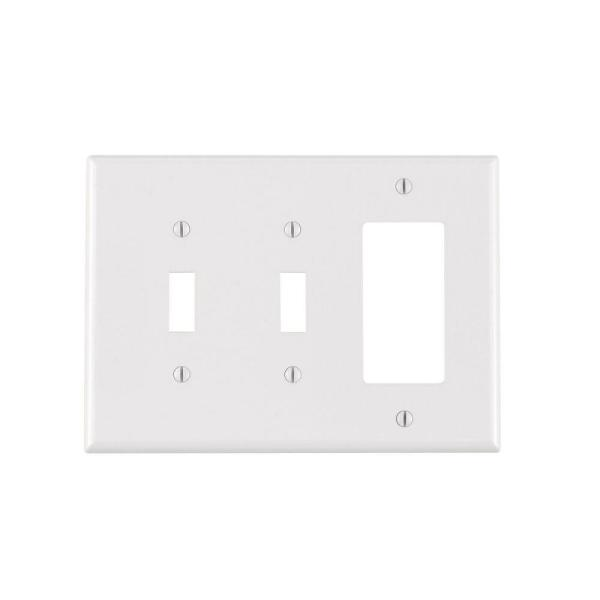 White 3-Gang 2-Toggle/1-Decorator/Rocker Wall Plate (1-Pack)