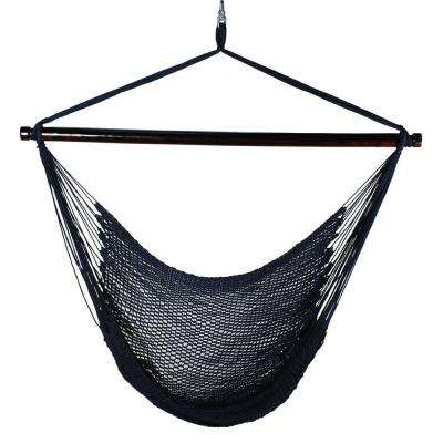 44 in  polyester rope hanging chair in blue rope hammocks   hammocks   the home depot  rh   homedepot