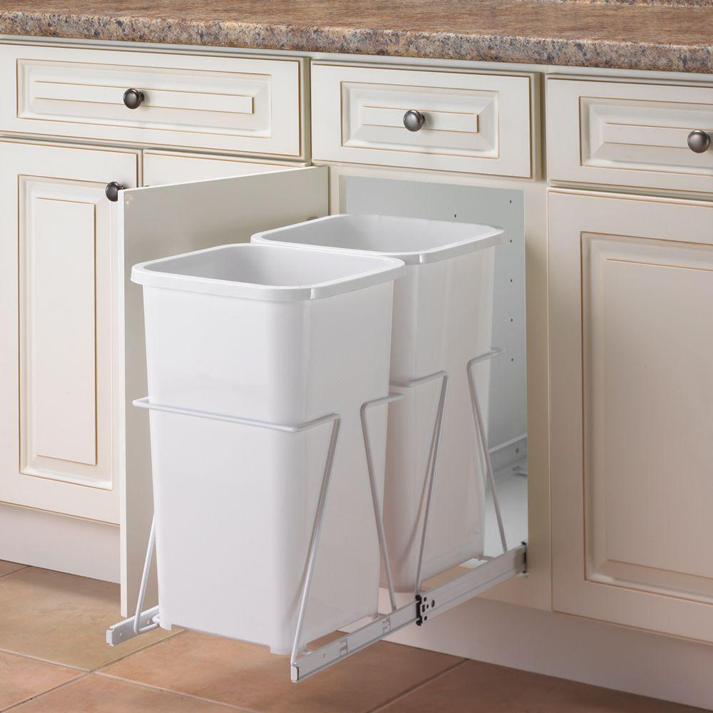 19 In H X 11 W 23 D Steel Cabinet 27 Qt Double Pull Out Trash Can White