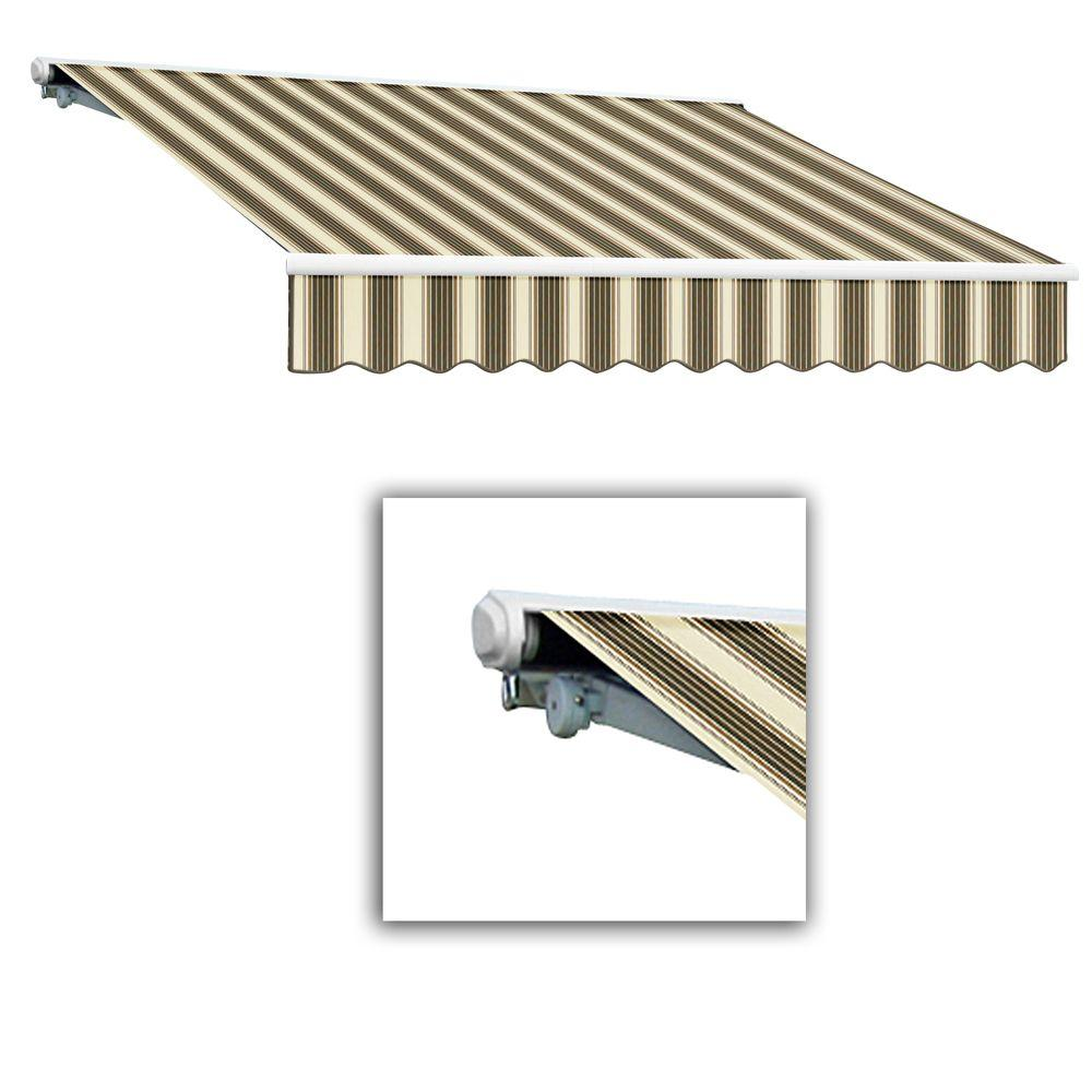 AWNTECH 8 ft. Galveston Semi-Cassette Left Motor with Remote Retractable Awning (84 in. Projection) in Brown/Tan Multi