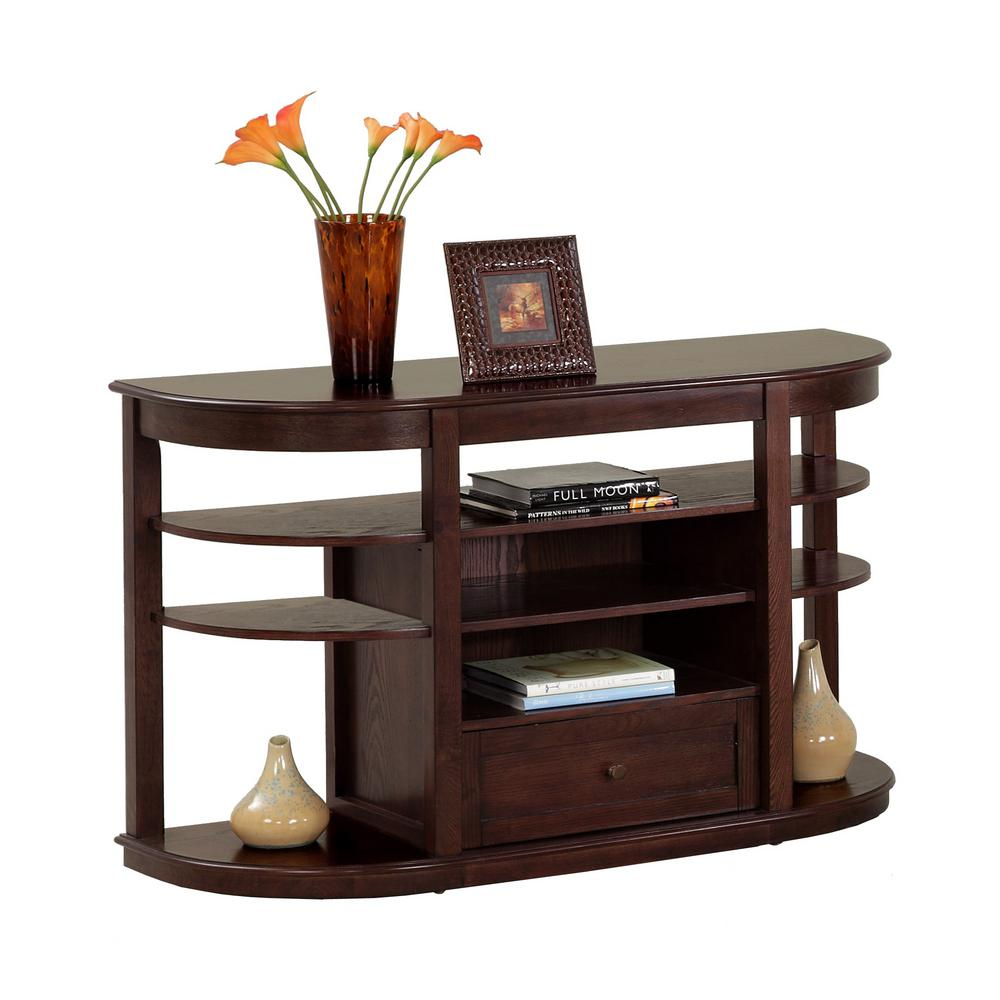Progressive Furniture Sebring 48 In Medium Ash Standard Half Moon Wood Console Table With Drawers P543 05 The Home Depot