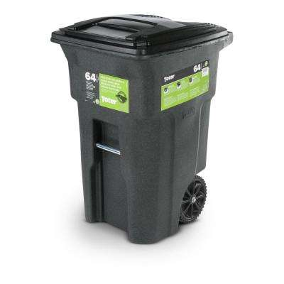 64 Gal. Green Trash Can with Wheels and Attached Lid