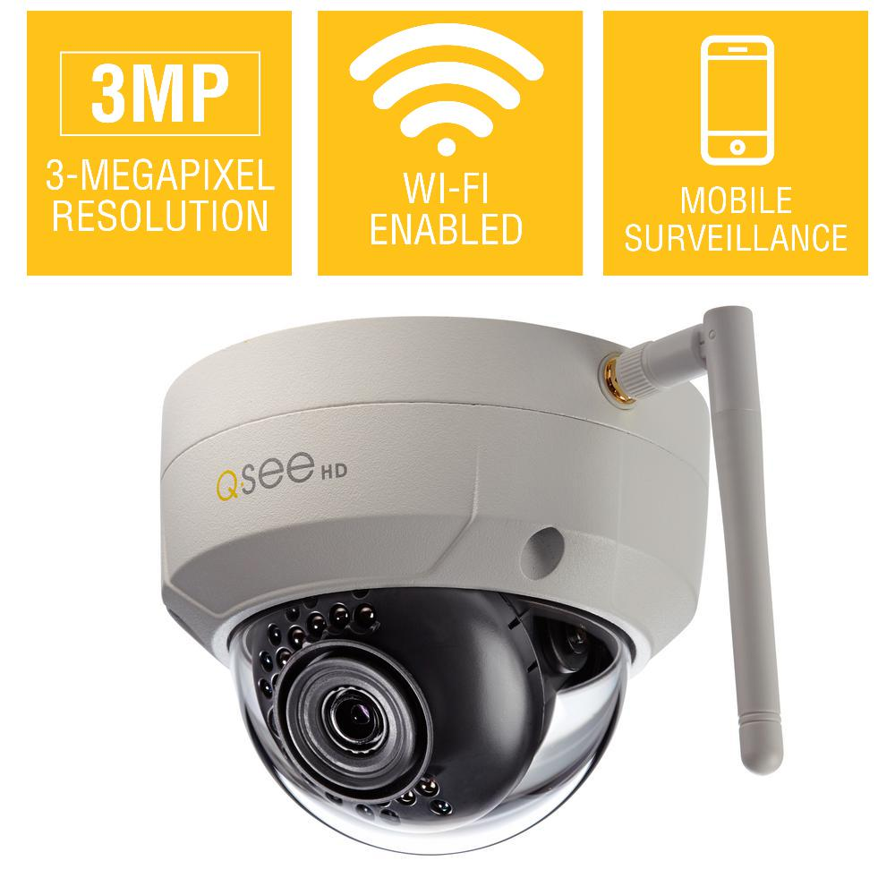 Q-See 3MP Wi-Fi Indoor/Outdoor Dome Security Camera with ...