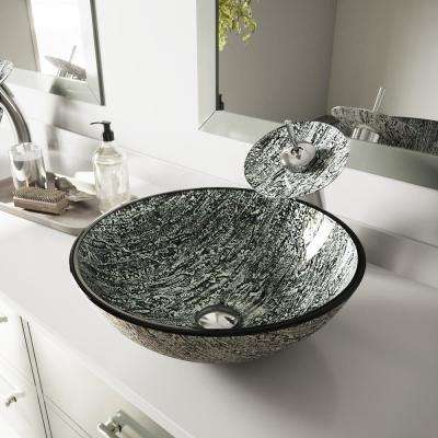 Glass Vessel Bathroom Sink in Titanium and Waterfall Faucet Set in Chrome